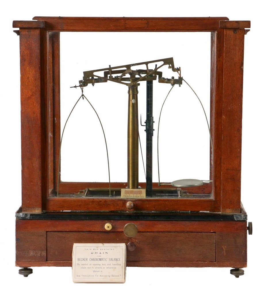 EARLY CASED BALANCE SCALE - 19th c. Pharmacist's