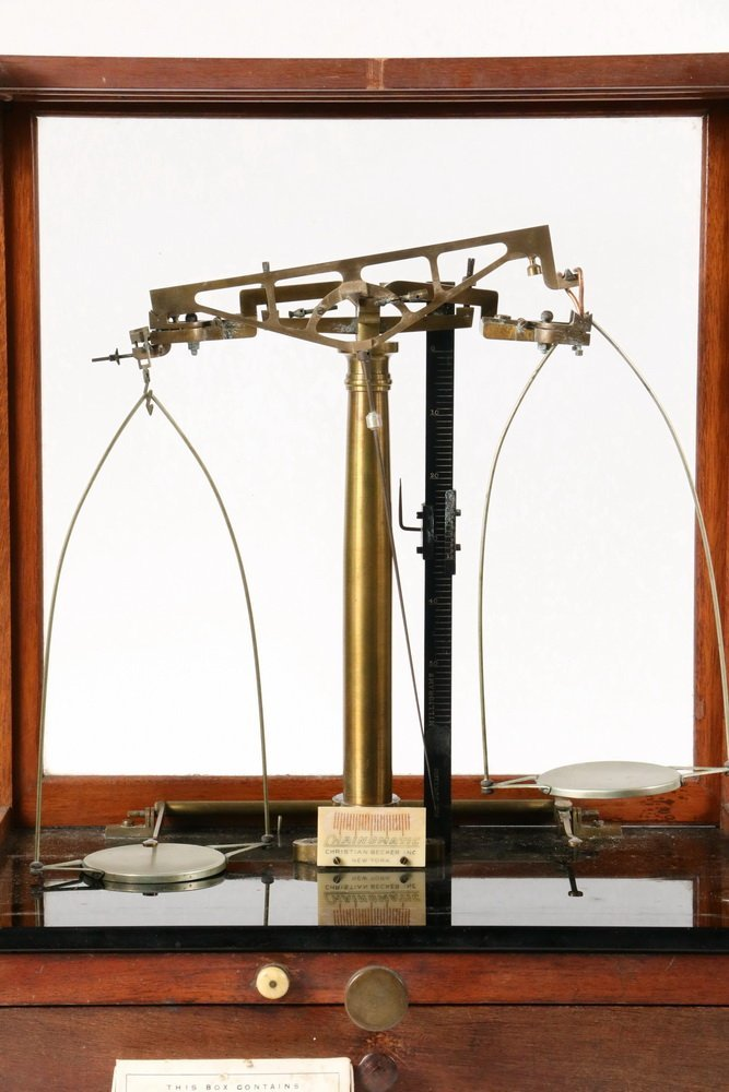 EARLY CASED BALANCE SCALE - 19th c. Pharmacist's - 2