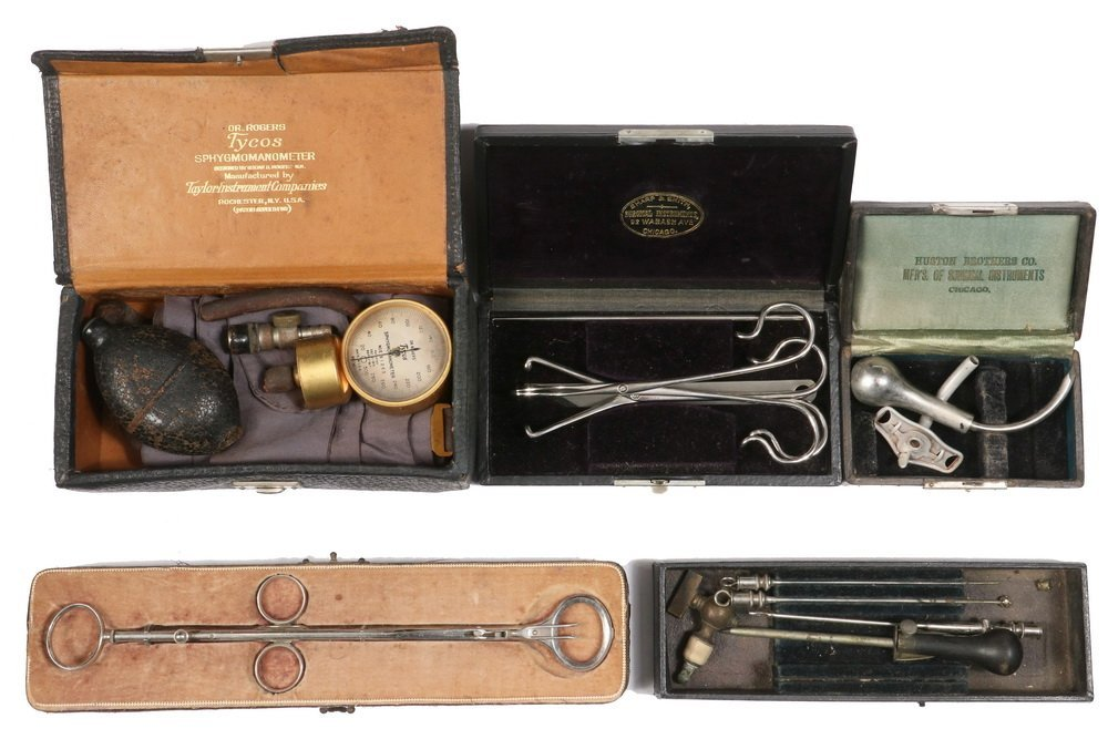 (5) CASED SURGICAL INSTRUMENTS - All circa 1880-1910,