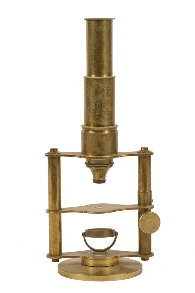 ANTIQUE MICROSCOPE - 19th c. English, soild brass,