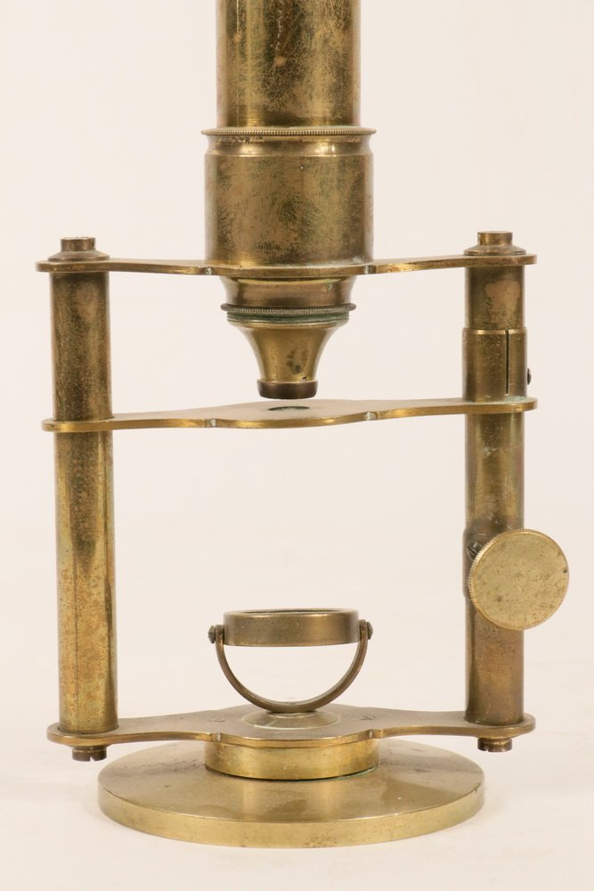 ANTIQUE MICROSCOPE - 19th c. English, soild brass, - 2