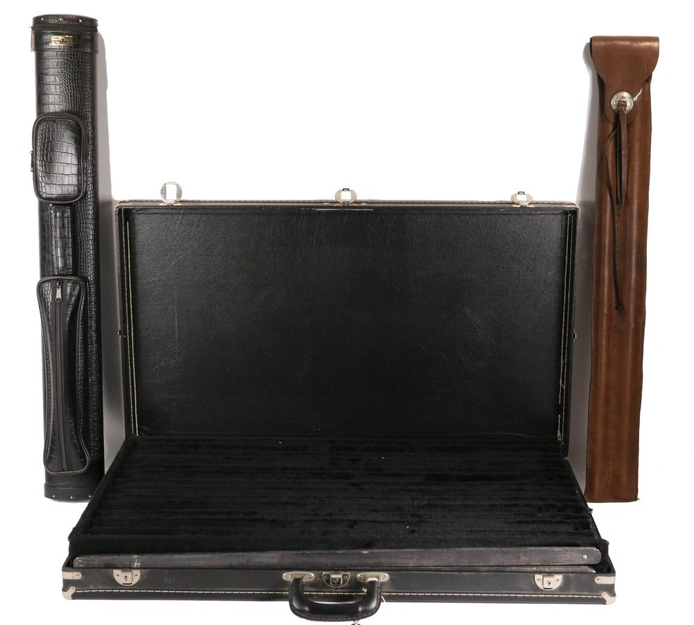 (3) EMPTY POOL CUE CASES - Including: Black Dealer's