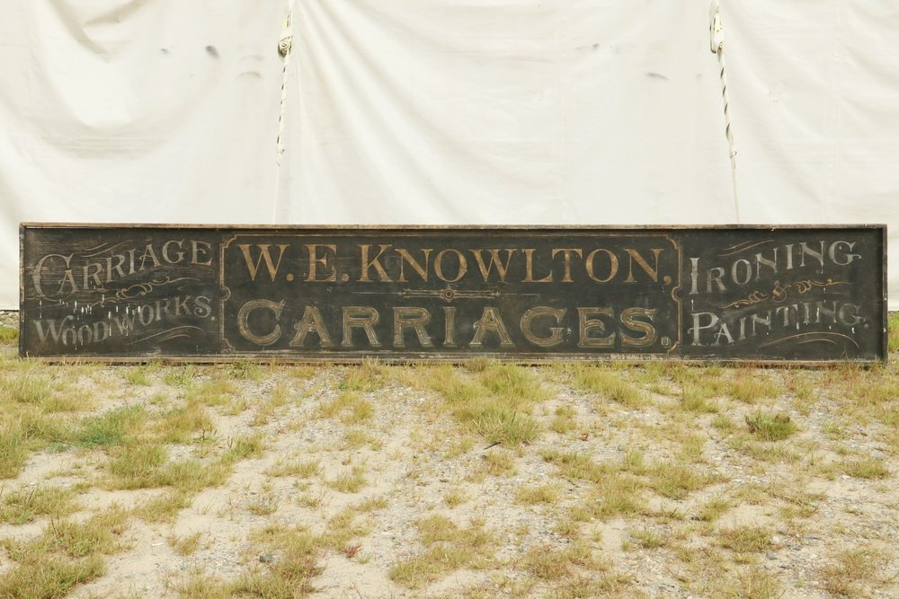 19TH C. TRADE SIGN - Large Single Pine Plank Painted
