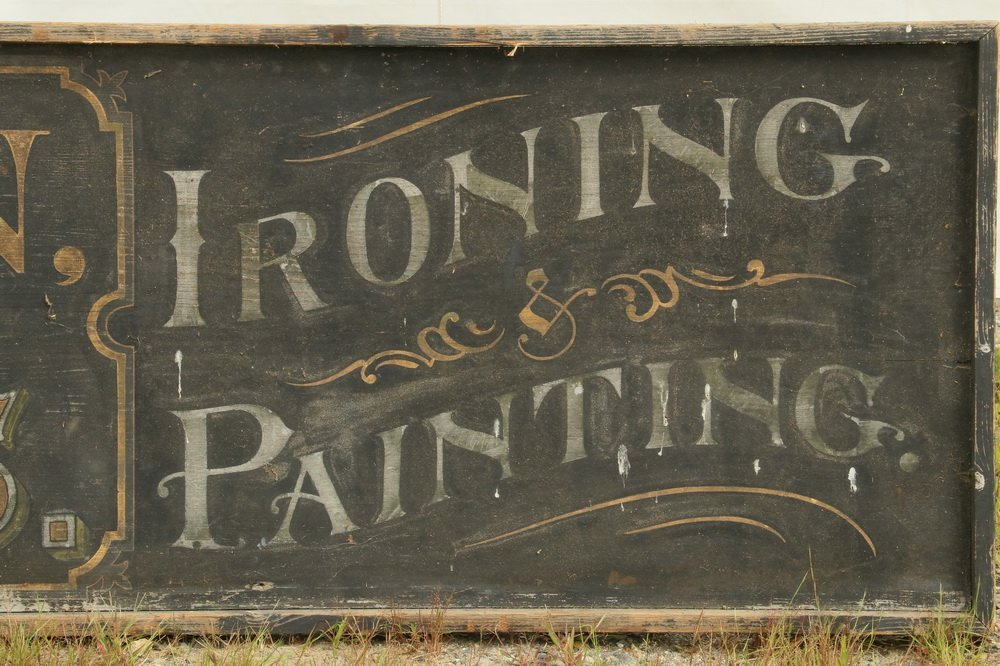 19TH C. TRADE SIGN - Large Single Pine Plank Painted - 2