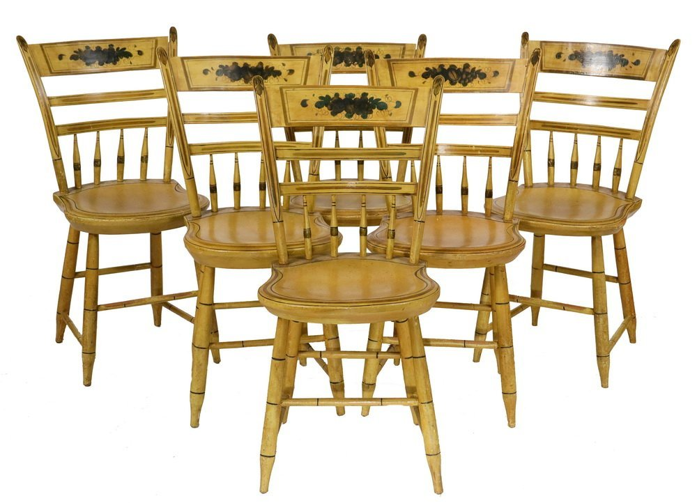 (6) COUNTRY CHAIRS - Early 19th c. Maine Made Yellow