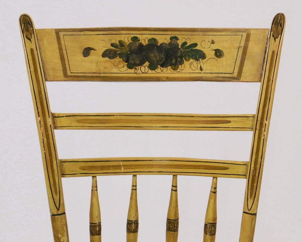 (6) COUNTRY CHAIRS - Early 19th c. Maine Made Yellow - 2