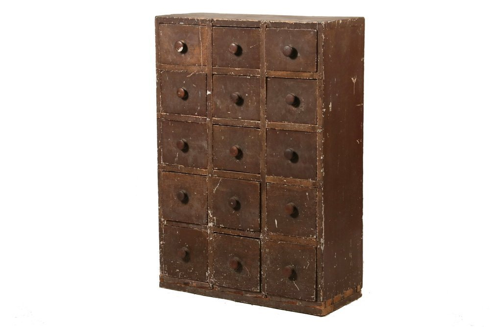 15-DRAWER COLONIAL SPICE CABINET - 18th c. Pine