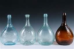 4 18TH C GLASS FLASKS  Teardrop Shaped Rum Flasks