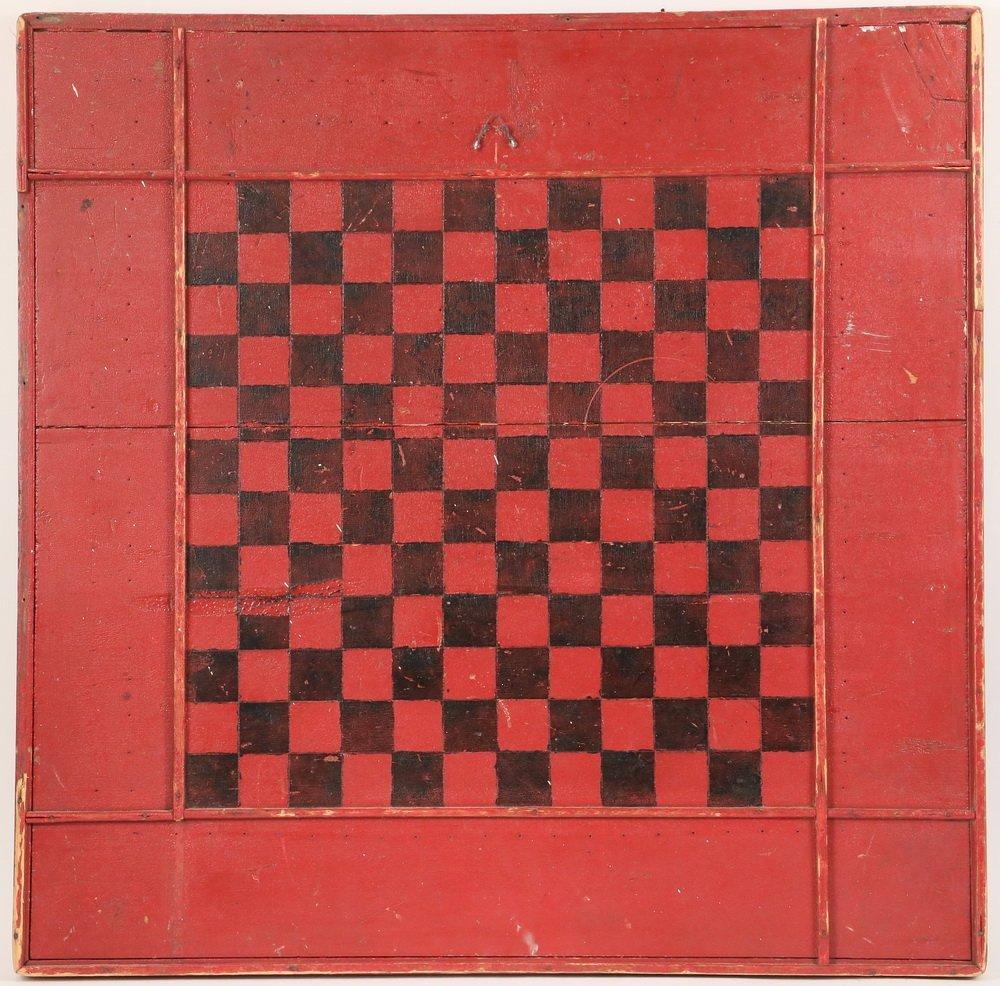 FOLK ART GAME BOARD - Primitive Painted Wood Checker & - 2