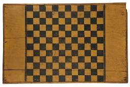 ANTIQUE PAINTED CHECKERBOARD  American Folk Art Game