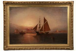 ELISHA TAYLOR BAKER (NY/CT, 1827-1890) - Brigantine and