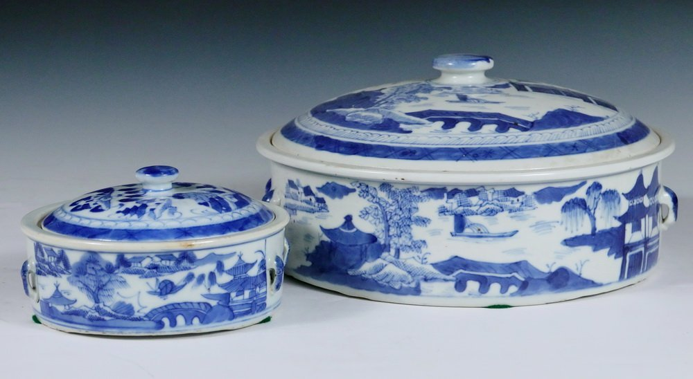 VEGETABLE DISHES - (2) Chinese Export Canton Blue &