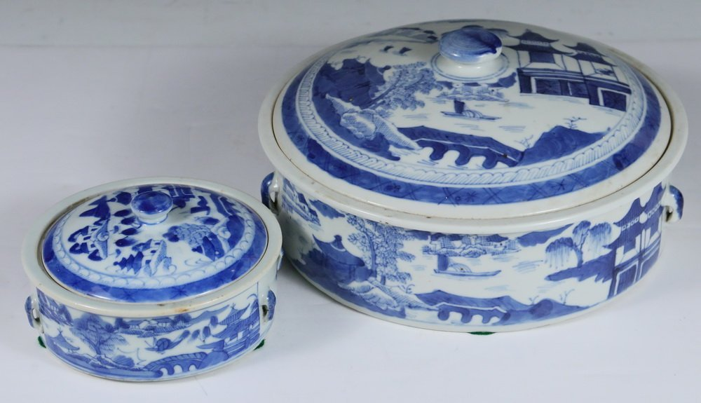 VEGETABLE DISHES - (2) Chinese Export Canton Blue & - 2