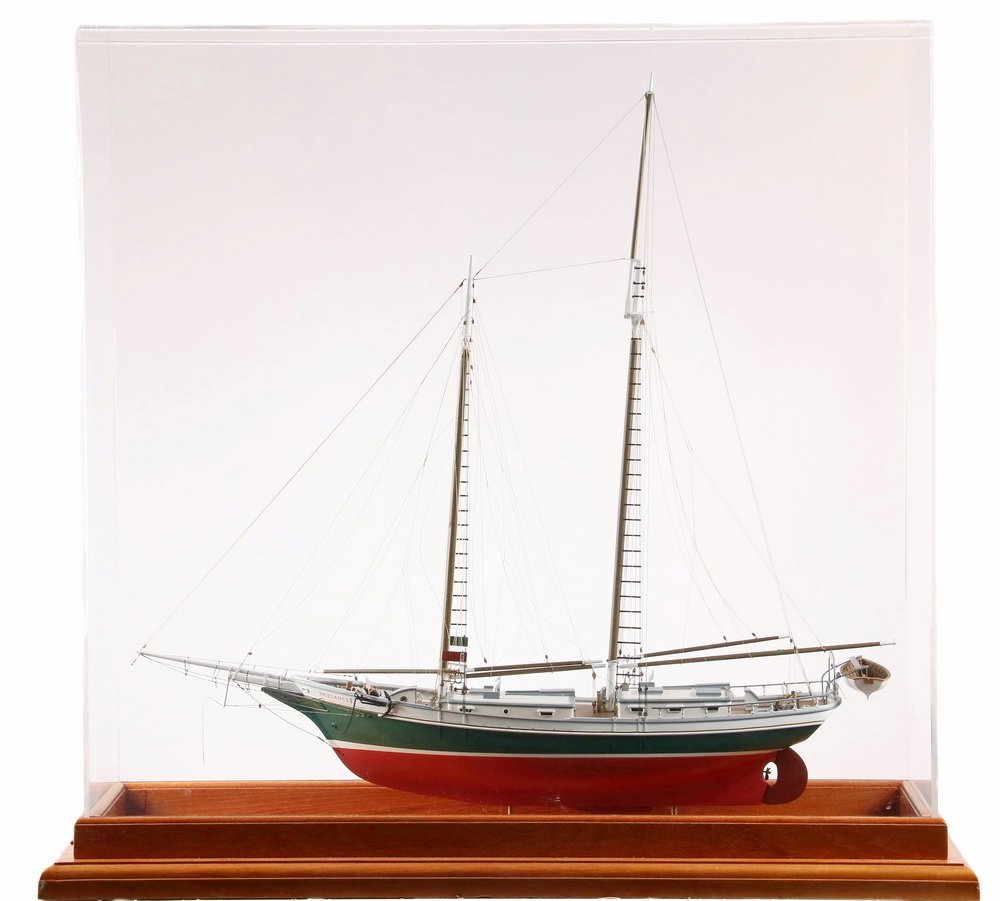 """CASED SHIP MODEL - """"Defiance"""" of Stamford, Connecticut,"""