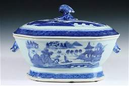 TUREEN - Large early 19th c. Chinese Export Canton Blue