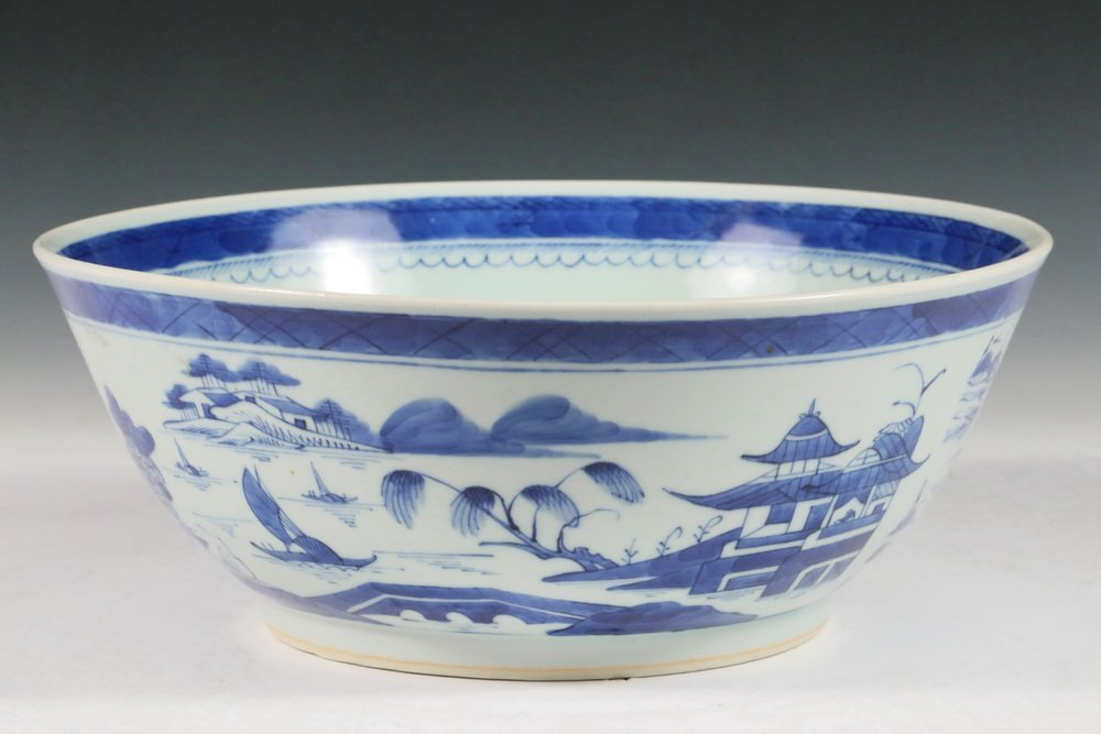 PUNCH BOWL - 19th c. Chinese Export Canton Blue & White