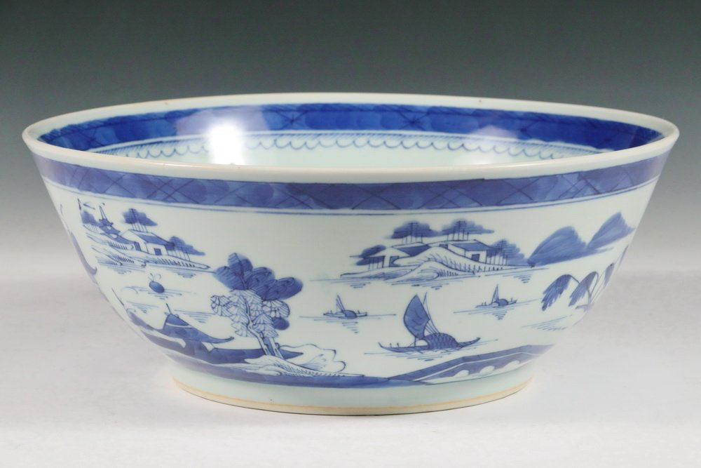PUNCH BOWL - 19th c. Chinese Export Canton Blue & White - 2