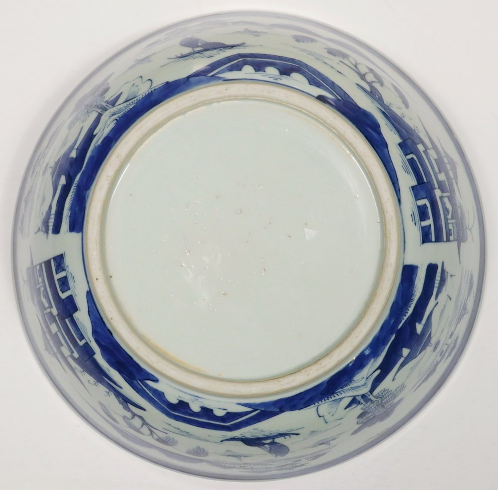 PUNCH BOWL - 19th c. Chinese Export Canton Blue & White - 3