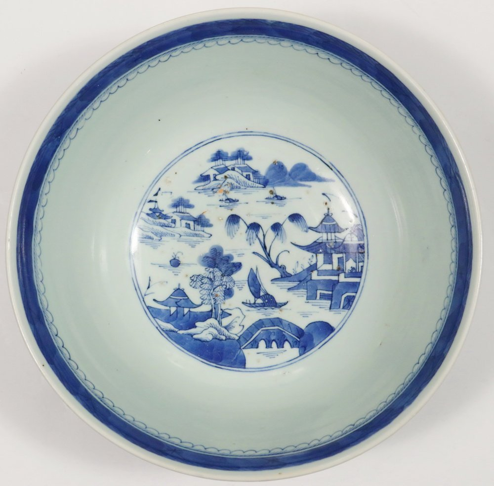 PUNCH BOWL - 19th c. Chinese Export Canton Blue & White - 4