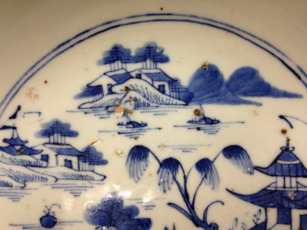 PUNCH BOWL - 19th c. Chinese Export Canton Blue & White - 5