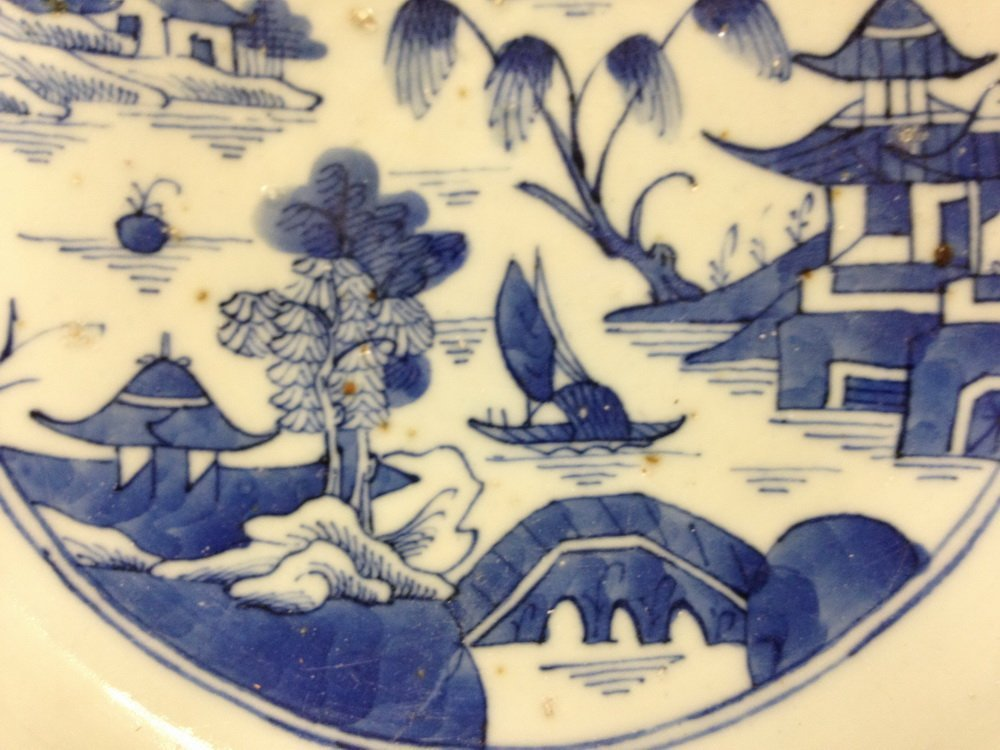 PUNCH BOWL - 19th c. Chinese Export Canton Blue & White - 6