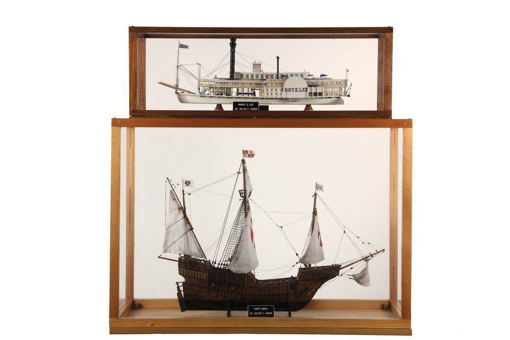 (2) CASED SHIP & BOAT MODELS - Both by Milton F Gowen