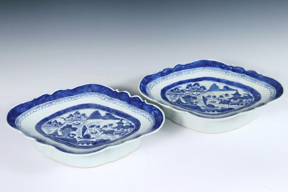 CURRY BOWLS - Pair of 19th c. Chinese Export Blue &
