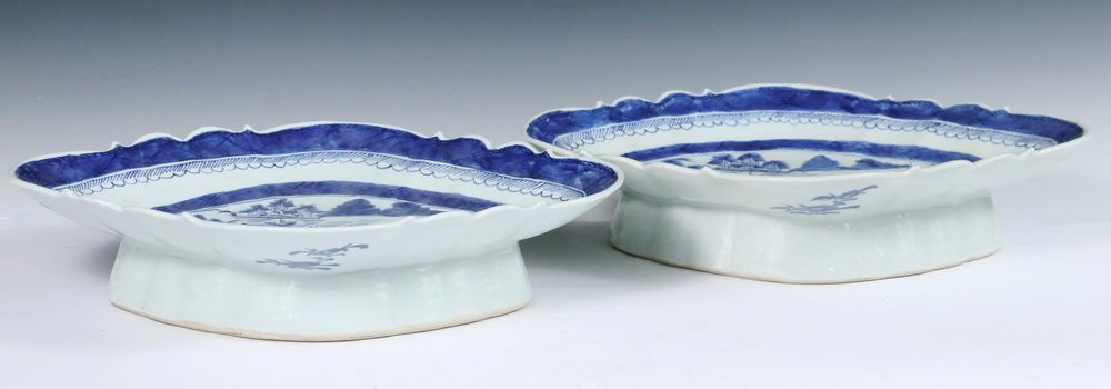 CURRY BOWLS - Pair of 19th c. Chinese Export Blue & - 2