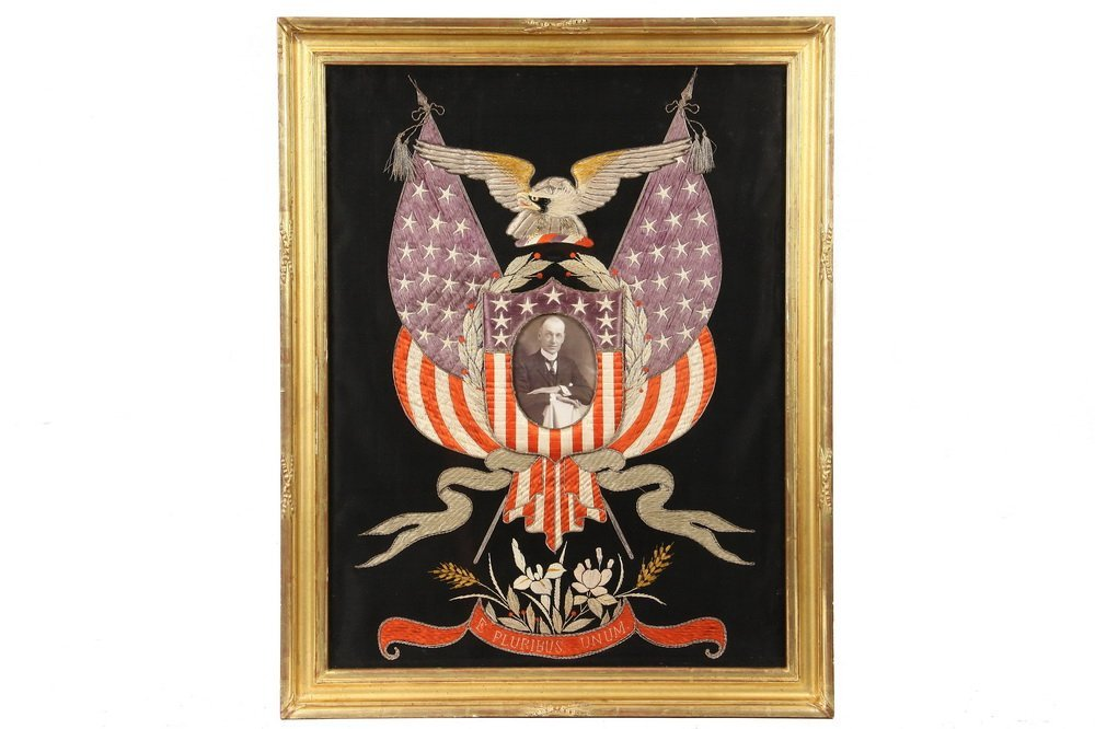 JAPANESE SILKWORK - US Patriotic Theme, circa 1890,
