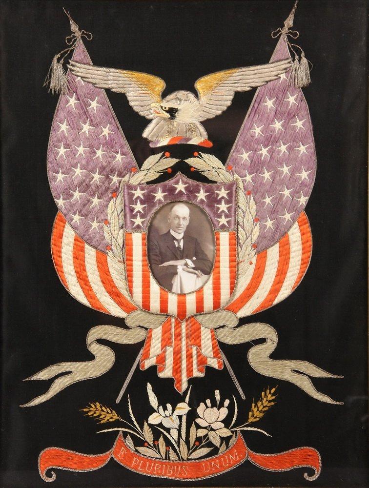 JAPANESE SILKWORK - US Patriotic Theme, circa 1890, - 2
