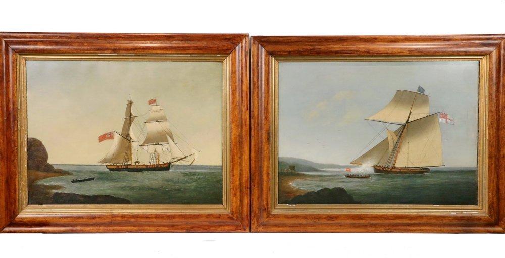 GEORGE HOUGHTON (19th c. British) - (2) Coastal Naval