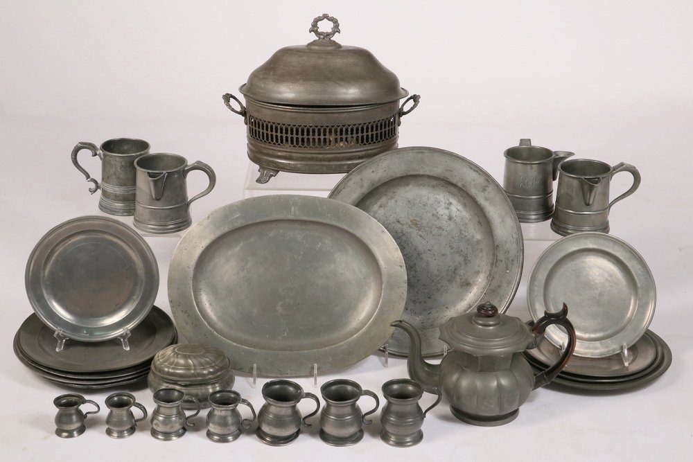 PEWTER COLLECTION - (35) Piece Group of 18th and 19th