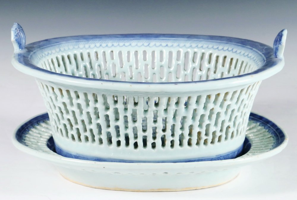 BASKET ON STAND - Early 19th c. Chinese Export Canton