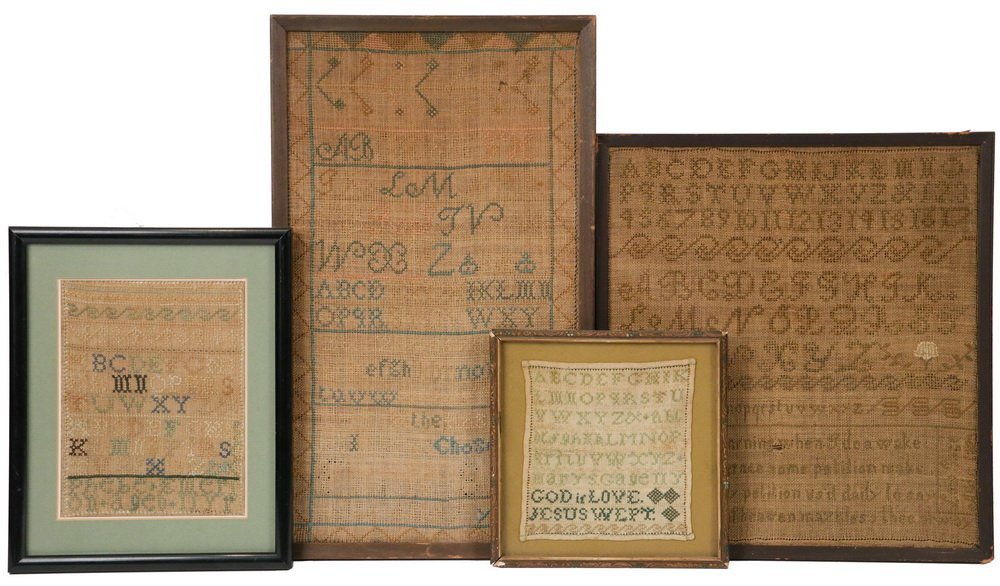 (4) FRAMED BATH, MAINE SAMPLERS - All early 19th c.,