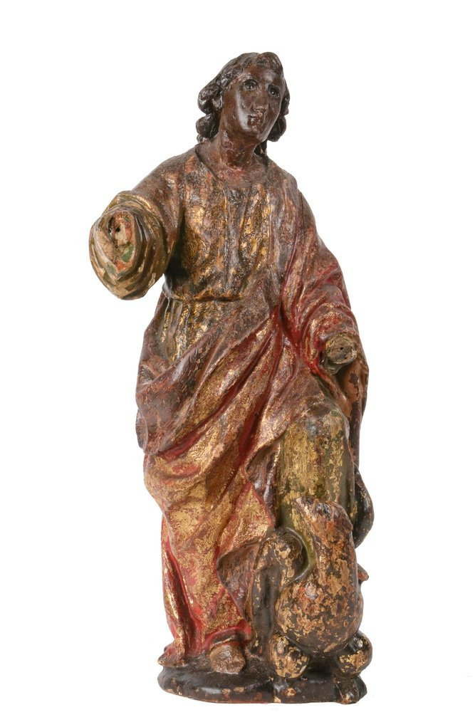 ECCLESIASTICAL CARVING - 19th c. Polychromed Figure of