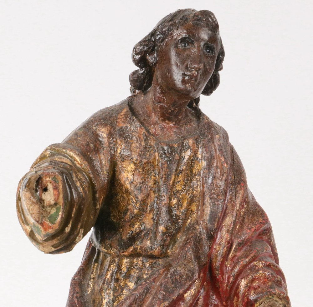 ECCLESIASTICAL CARVING - 19th c. Polychromed Figure of - 2