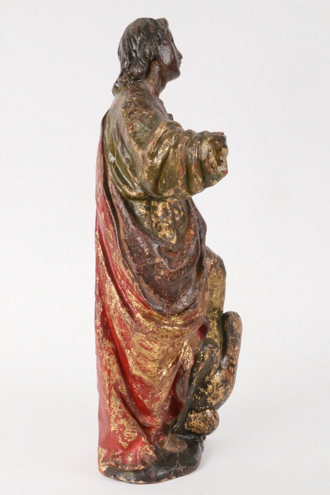 ECCLESIASTICAL CARVING - 19th c. Polychromed Figure of - 3