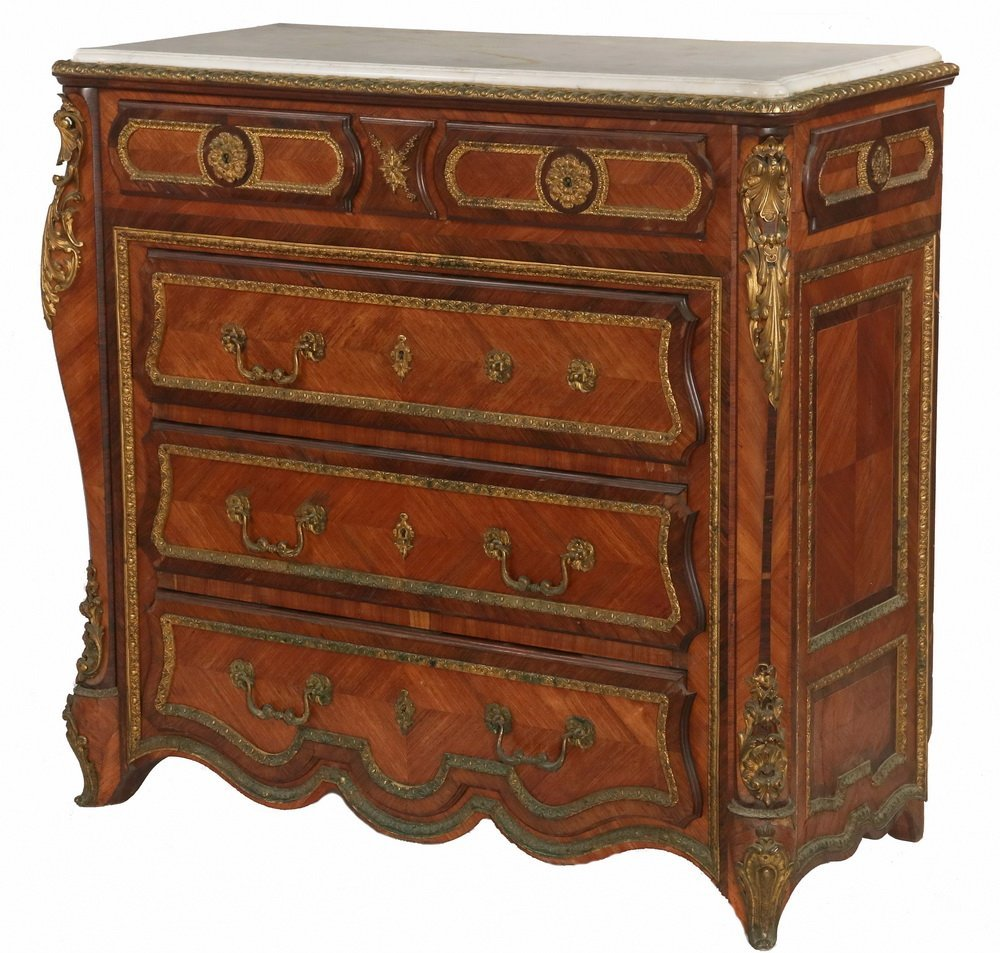 FRENCH MARBLE TOP DRESSER - Louis XIV Style, with