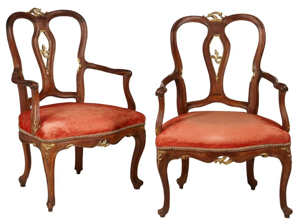 PAIR OF ARMCHAIRS - Pair of Early Continental Louis XV