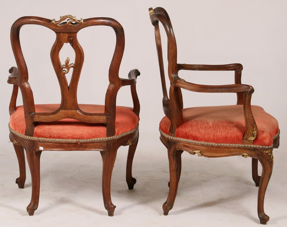 PAIR OF ARMCHAIRS - Pair of Early Continental Louis XV - 4