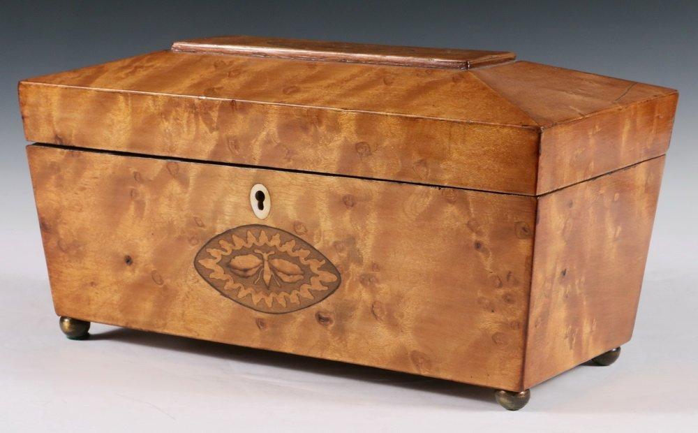 TEA CADDY - Sarcophagus Form Fruitwood Inlaid English