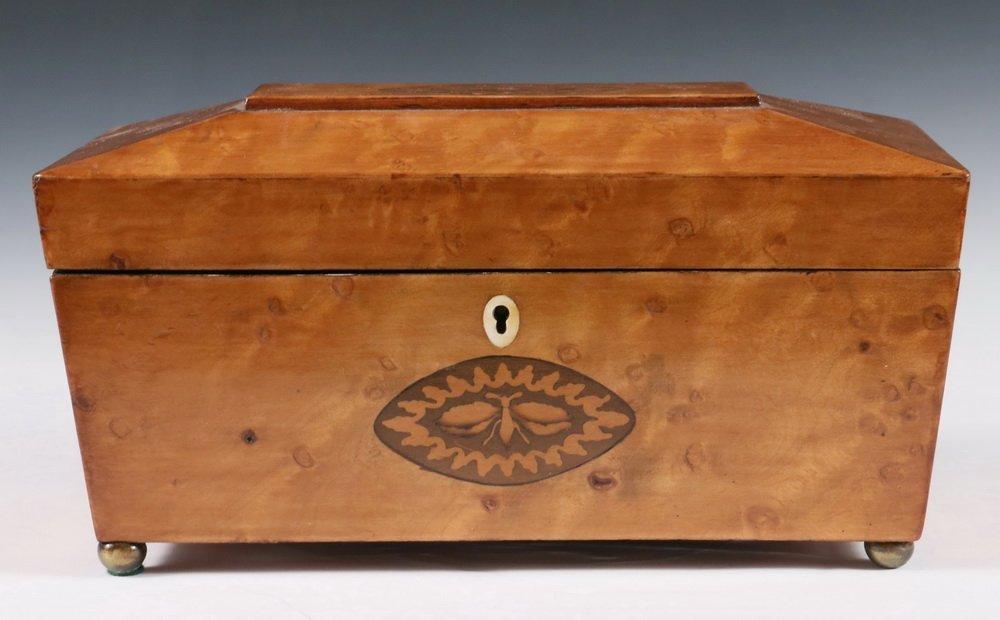 TEA CADDY - Sarcophagus Form Fruitwood Inlaid English - 2