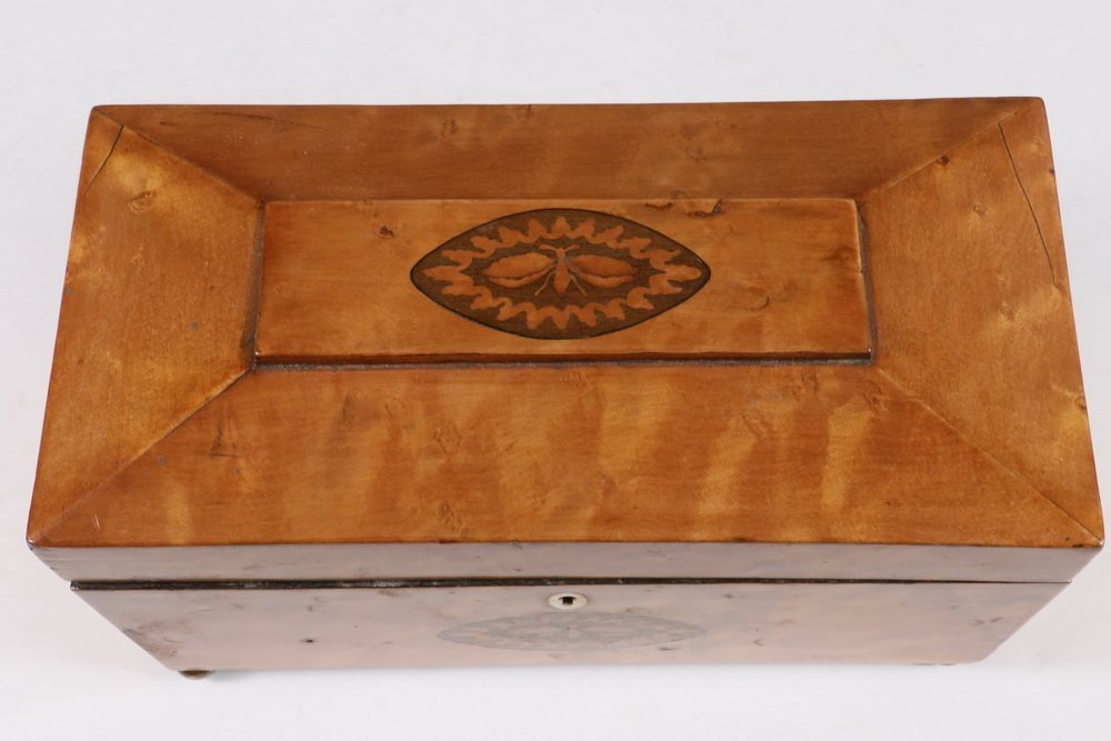 TEA CADDY - Sarcophagus Form Fruitwood Inlaid English - 4