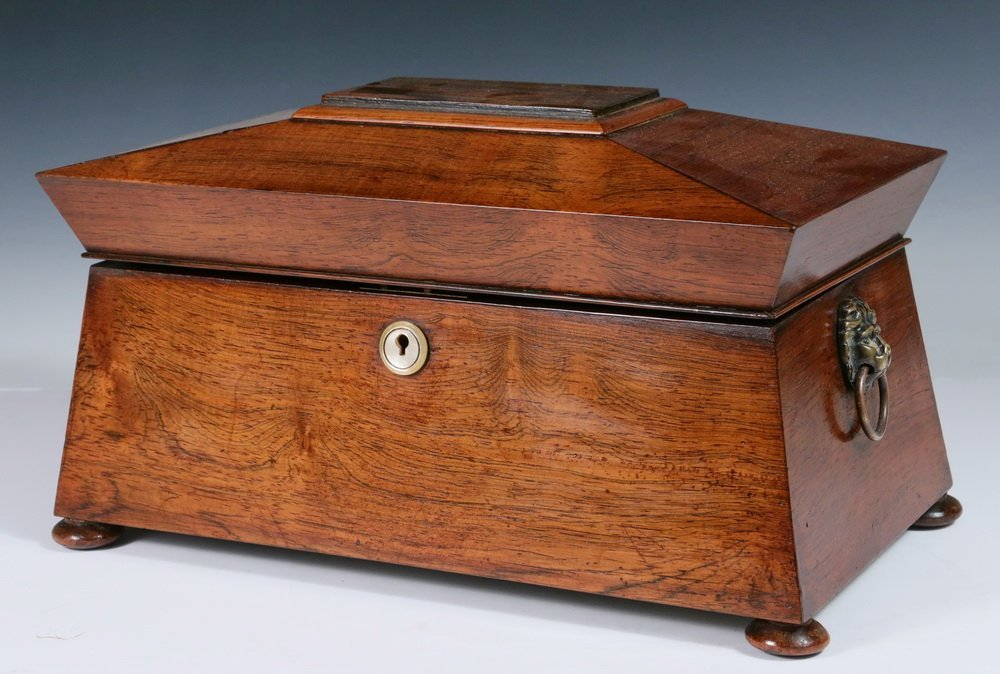 LARGE TEA CADDY - Sarcophagus Form Rosewood Caddy with