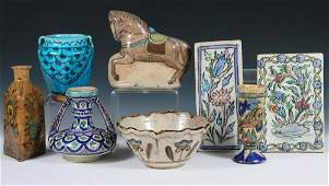 PERSIAN POTTERY  8 Pieces of Decorated Persian