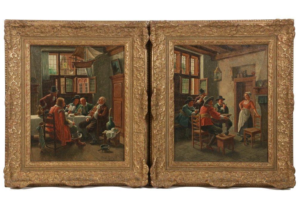 WILHELM F. GIESSEL (Austria, 1869-1938) - Two Tavern