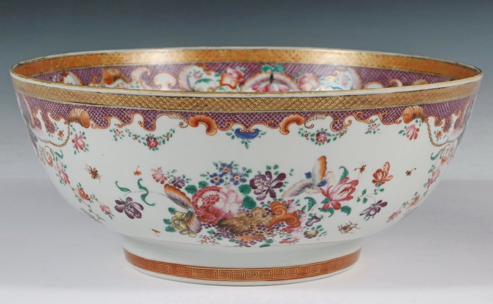 CHINESE EXPORT PUNCH BOWL - Rose Medallion Porcelain