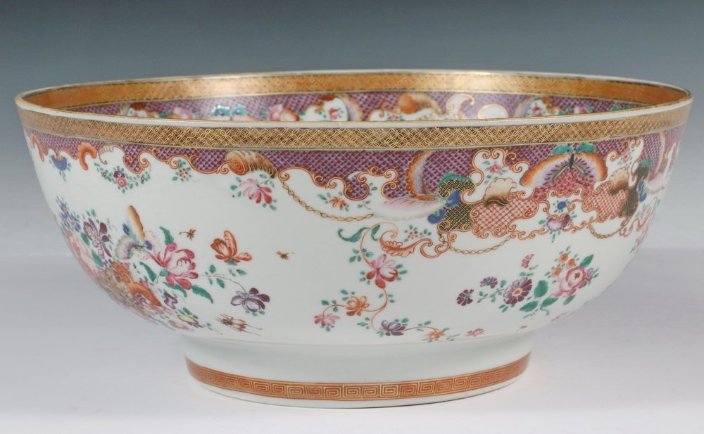 CHINESE EXPORT PUNCH BOWL - Rose Medallion Porcelain - 2