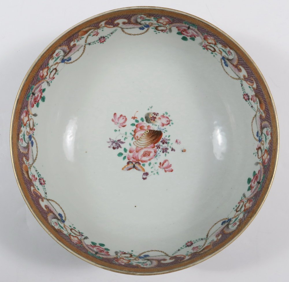 CHINESE EXPORT PUNCH BOWL - Rose Medallion Porcelain - 3
