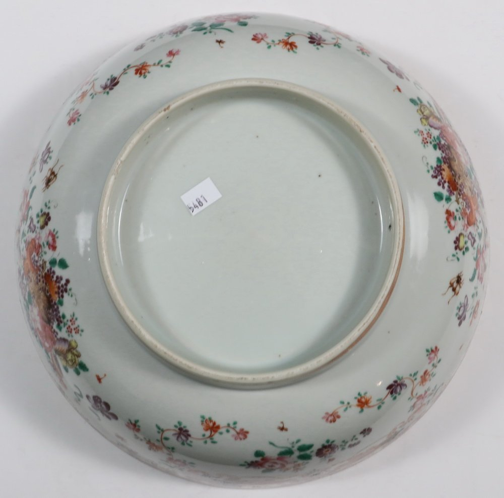 CHINESE EXPORT PUNCH BOWL - Rose Medallion Porcelain - 4